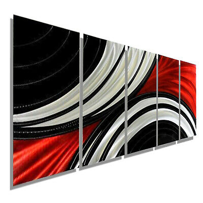 Statements2000 3D Metal Wall Art Abstract Black Silver Red Decor by Jon Allen