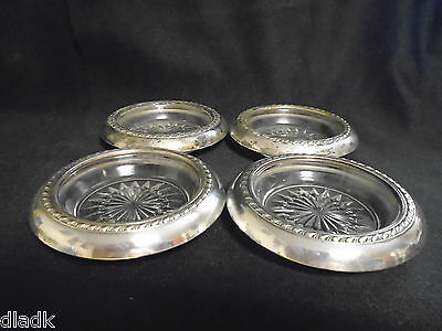 Vintage Set 4 Sterling & Crystal Coasters
