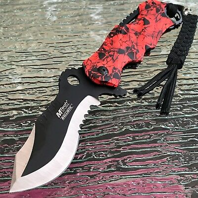 Mtech Spring Assisted Tactical Red Skull Folding Pocket Knife Open 8.0""