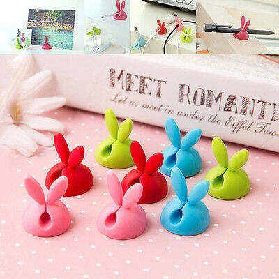 3pcs Rabbit Cable Drop Clip Desk Tidy Organiser DIY Wire Lead USB Charger Holder