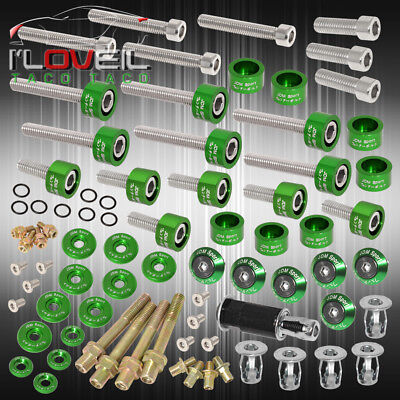 Honda Acura Jdm Cam Cap/6Mm Cup/Header/Fender/Valve Cover Washers+Bolts Green