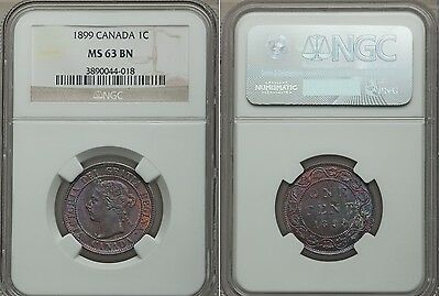1899 Canada 1 Cent- Gorgeous Monster Lavender Toning NGC MS 63