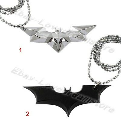 "Super Hero Batman Wing Logo 42cm/16.8"" Pewter Metal Necklace Chain New In Box"