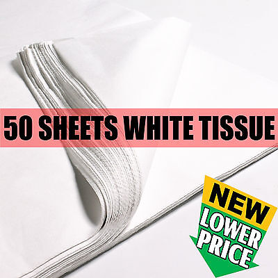 50 SHEETS OF WHITE ACID FREE TISSUE PAPER 500x750mm