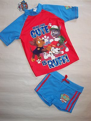 Bnwt Paw Patrol Boys Swimmers Swimming Costumes Set - Size 2 To 6