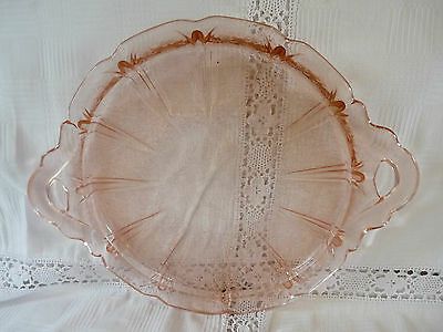 Jeanette Pink Depression Glass Cherry Blossom Round Glass Handled Plate