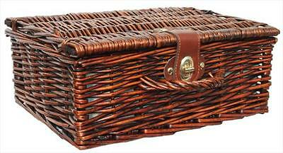"""Traditional Brown Wicker Christmas Gift Hamper Basket with Lid - SMALL 12"""""""