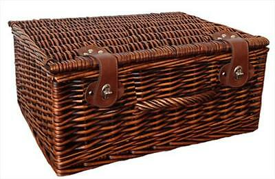 """Traditional Brown Wicker Christmas Gift Hamper Basket with Lid - LARGE 18"""""""