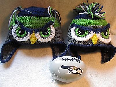 Crochet Mr OR Mrs Seahawk hat with Mohawk OR Ponytails - Baby to Adult Sizes