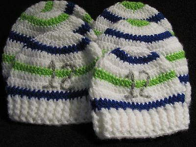 Crochet Soft Striped Seahawk Hats with Ribbed Edge -Hand made for Baby to  Adult 4a868e5a4de