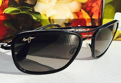 NEW* Maui Jim HAWAIIAN TIME Black w Grey Gradient Lens Sunglass GS252-02 $319