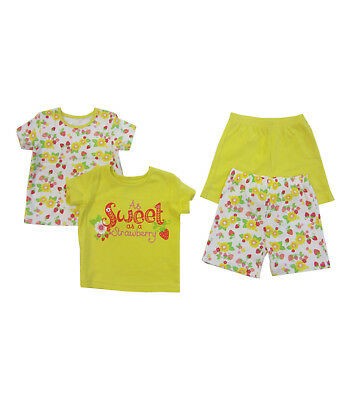 Baby Girls Kids PJ Pyjamas Strawberry Sleepwear Nightwear 2 PACK yellow