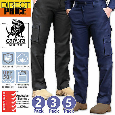 2 3 5 Packs Cargo Pants Tradie Work Pants Black Navy Sand Cotton Drill Trousers