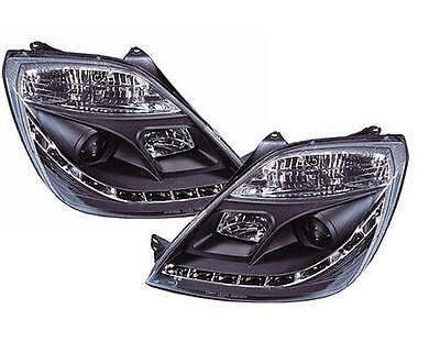Ford Fiesta MK6 (2002-2007) Black DRL Devil Angel Eyes Front Headlights Lights