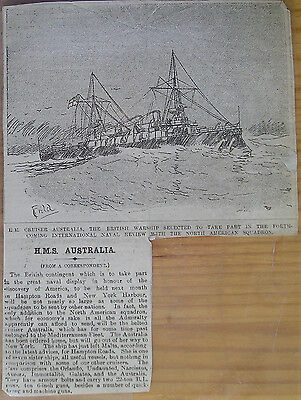 Great Britain 1892 Press Clipping H.m.s. Australia Discovery Of America Review
