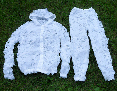 Hunting Reticulation Snow camouflage Ghillie Suits Winter Snow CAMO Jack Pants