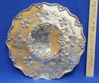 Antique Silver Tray Round Engraved 12-26-19 Grape Leaf Pattern Scalloped Edge