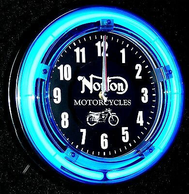 "Norton Motorcycles 11"" Blue Neon Clock - New !!!"