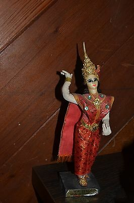 Vintage M R Hand Made Crafted Dancing  DOLL  made in Thailand wood cloth gold ha
