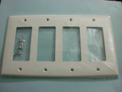Decorator Unbreakable 4-Gang Wall Plate Quadruple Cover GFCI -White Face Plate