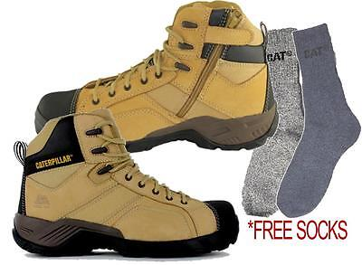 CAT Caterpillar Argon Hi Steel Toe Work Safety Boots with Side Zip Tradies Shoes