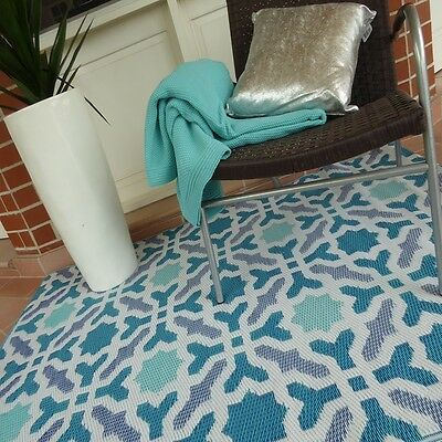 Fab Rugs Seville Blue Indoor/Outdoor Modern Rug/Ottoman Pool Camping TEAL
