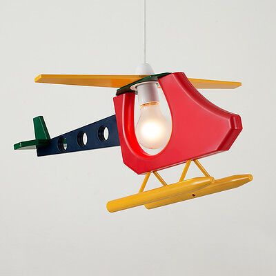 Childrens Bedroom Nursery Multi Coloured Helicopter Ceiling Pendant Light Shade