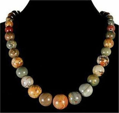 Natural 6-14mm Multicolor Picasso Jasper Gems Round Beads Necklace 18""