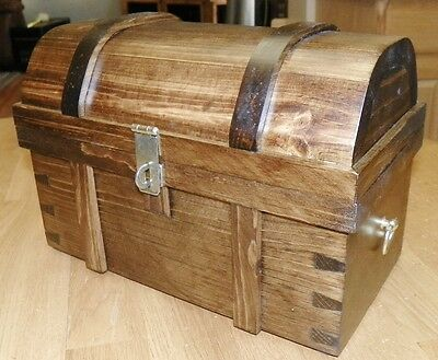 """Pirate Treasure Chest - Medium Size (11.5"""" Long) - All Wood - Handcrafted"""