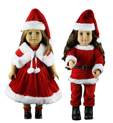 2 SET Doll Clothes Christmas Dress Outfit For 18'' inch American Girl Xmas Gift