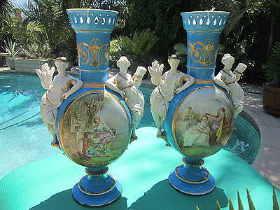 Pair French Old Paris style Bisque/Porcelain  Figural/scenic decorated Urns