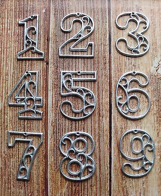 """Cast Iron House Numbers Metallic Silver Street Numbers 0-9  4-5/8"""" Tall"""