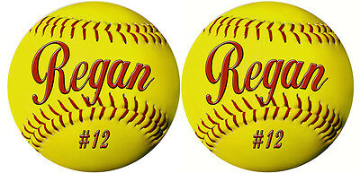 2 Softball Decals Bumper Stickers No Fade Personalize AnyText Many Colors