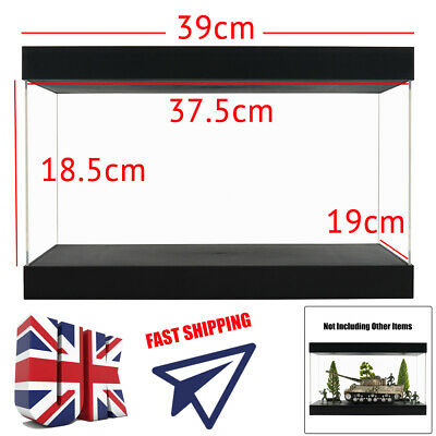 UK Big Acrylic Display Box 37.5cm Perspex Case Plastic Dustproof Self-Assembly