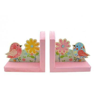 NEW Wooden Floral Bird Book Ends Bookends Childrens Decor