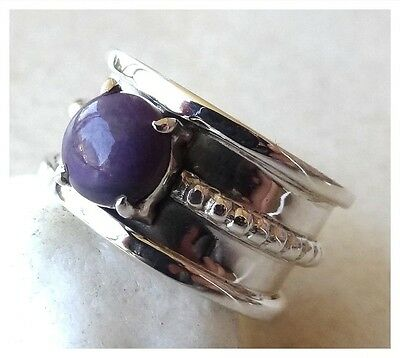 925 Sterling Silver SUGILITE Semi Precious GEMSTONE RING SIZE N 1/2 ~ US 7