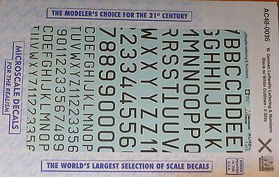 Microscale Decal O #AC48-0036 (1/48 Scale) West German Luftwaffe Lettering & Num