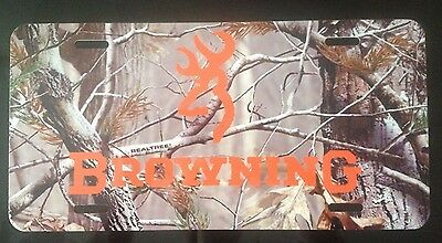Camo Browning Style Car Tag Aluminum Plate Not Plastic Realtree Camo Novelty