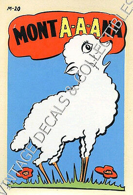 "Vintage Montana State ""mona-A-A-Na"" Lamb Souvenir Travel Decal Original Novelty"