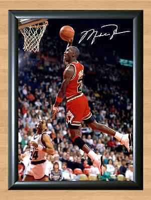 Michael Jordan Basketball in your face Autographed Signed A4 Print Photo Poster