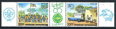 Central African 1985 Philexafrique Stamp Exhibition MS scout upu