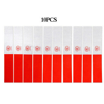 10X Safety Truck Red White Warning Reflective Conspicuity Tape Stickers Total 3M