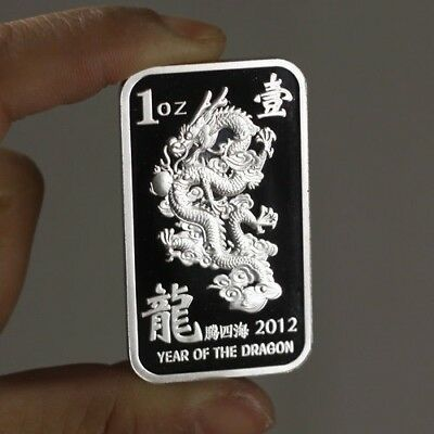 1 Troy oz  .999 Fine Silver Bar Bullion  /  Year of the Dragon /   SB101
