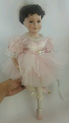 "Keepsake Porcelain Dolls ""Miss Renae"" Musical Swan Lake Porcelain Ballerina 17"""