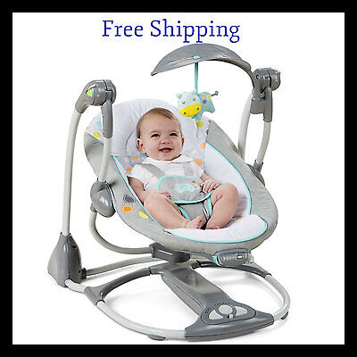 Baby Swing Seat Infant Toddler Harness Rocker Chair Little Portable Convertible