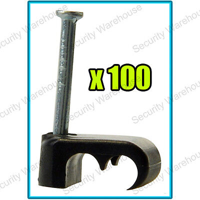 100 x Satellite Twin DOUBLE SHOTGUN Black CABLE CLIPS Coaxial Wire Sky WF65 CT63