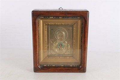 Rare Antique Russian Authentic Russian or Greek Icon With Oklad And Box.