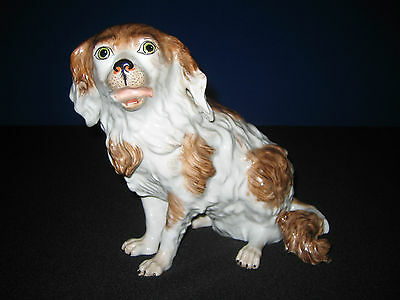 Fine Dresden Porcelain Figure of a Seated Spaniel Dog