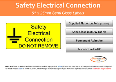 Electrical Safety Labels - Safety Electrical Connection - Yellow 50x25mm