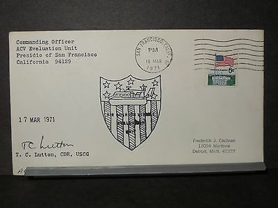 ACV-01 Naval Cover 1971 AIR CUSHIONED VEHICLE Signed HOVERCRAFT Cachet